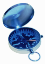Photograph of a blue-tinted sighting compass on a white background