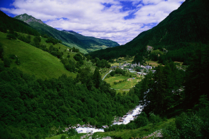 Photograph of a scene in nature, such as a mountain, stream or valley